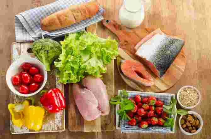 Balanced diet, healthy food concept on wooden background. View from above