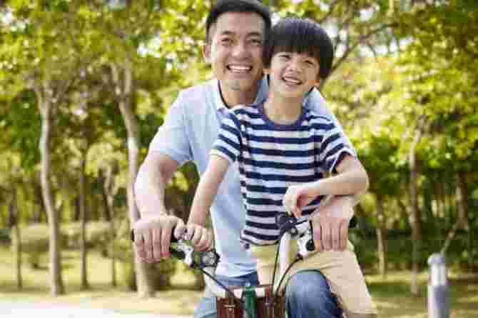 bicycle, parent, child, son, father, outdoor time, play, cycling, park, outside, fun, happy, smile
