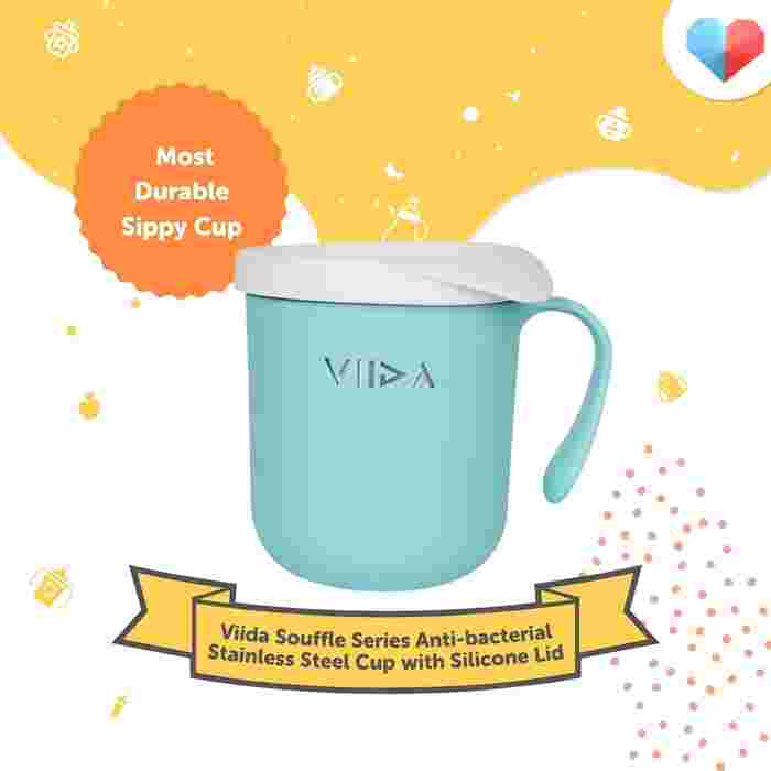 Viida Souffle Series Anti-bacterial Stainless Steel Cup with Silicone Lid Review  Most Durable Sippy Cup
