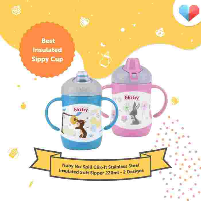 Nuby No-Spill Clik-It Stainless Steel Insulated Soft Sipper Review  Best Insulated Sippy Cup
