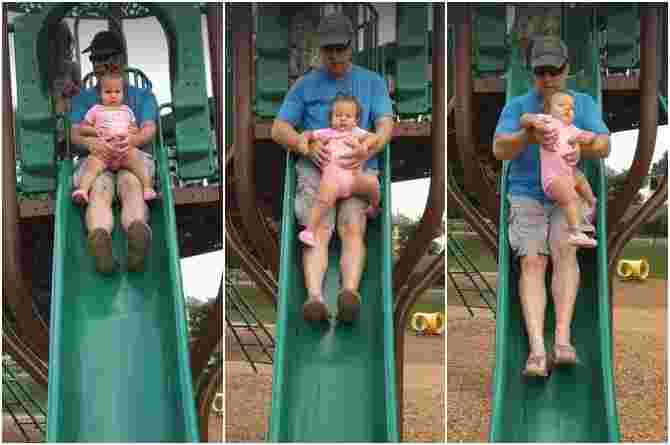 sliding with a toddler on the lap