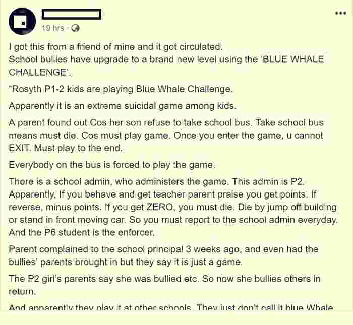 Rumours about 'suicide game' in Singapore primary school are fake, says the school