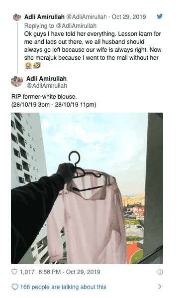 Malaysian Twitter users came together to help man who ruined wife's new white blouse in the wash
