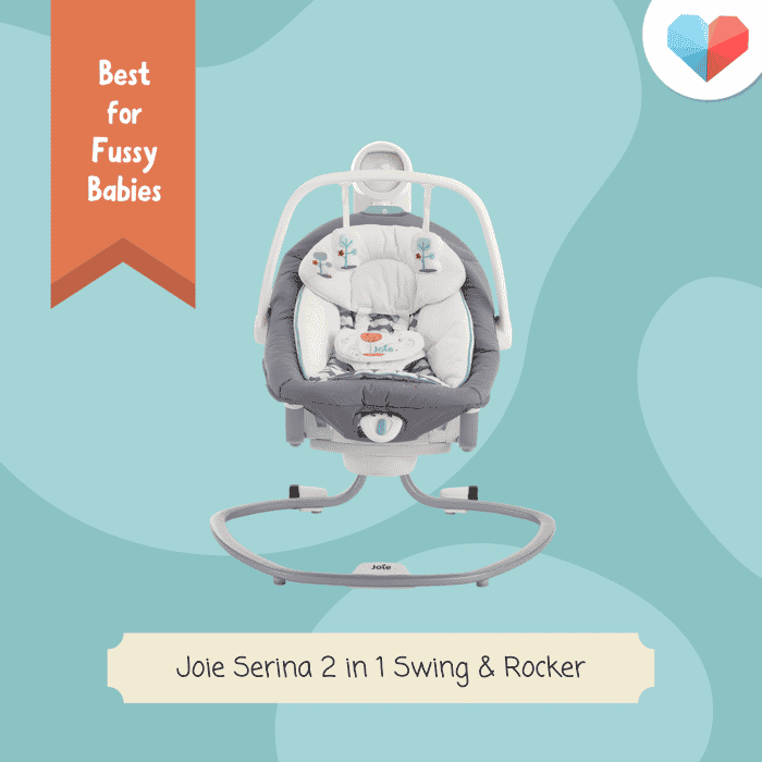 Joie Serina 2-in-1 Swing &Rocker: Best Baby Rocker for Fussy Babies - Most Functions e.g. sounds, vibrations, mobile toys, etc.