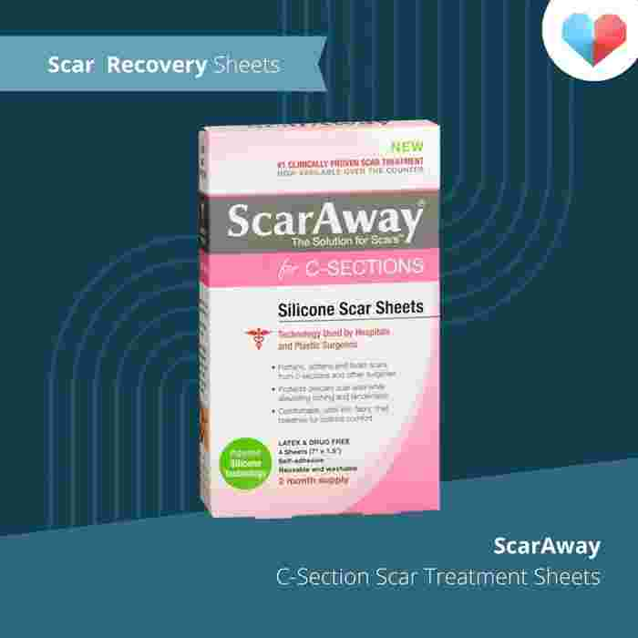 Scar Recovery Sheets: ScarAway Advanced Skincare Silicone Scar Sheets for C-Sections