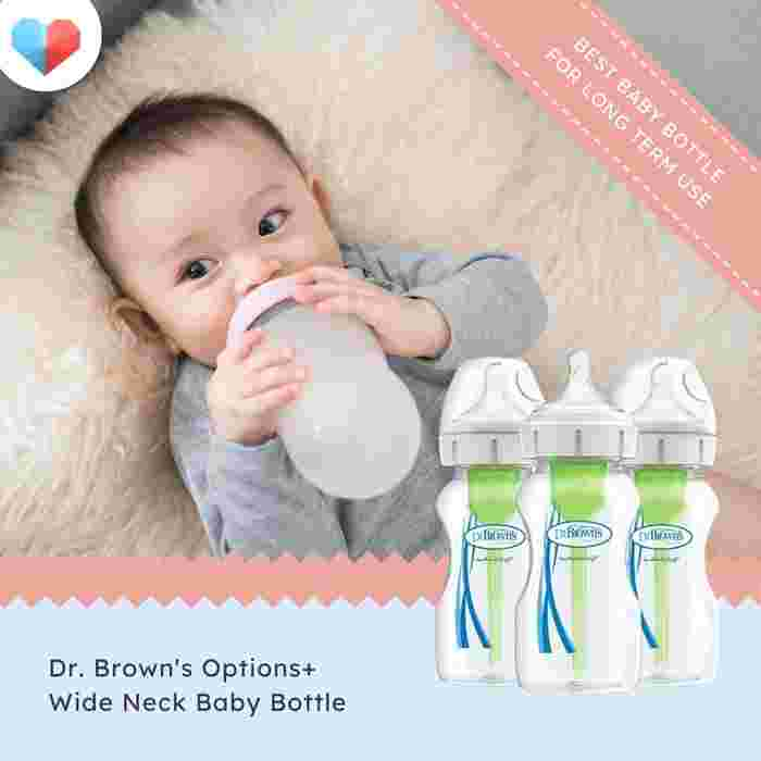 Dr Brown's Options+ Wide Neck Baby Bottle - Best Baby Bottle for Long Term Use