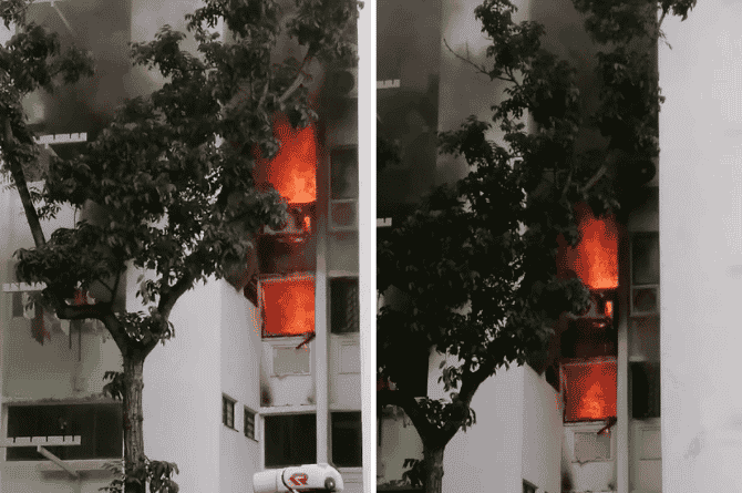 4 Yishun Flats 'Completely Charred' By Fire, 10 Taken To Hospital