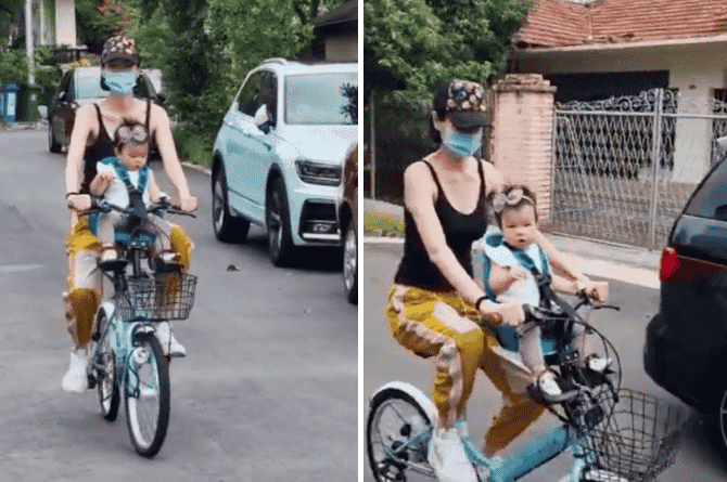 cycling with baby carrier