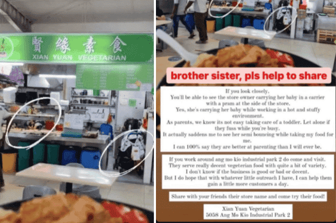 Ang Mo Kio Hawker Takes Care Of Baby While Serving Food, Gets Support From Parents