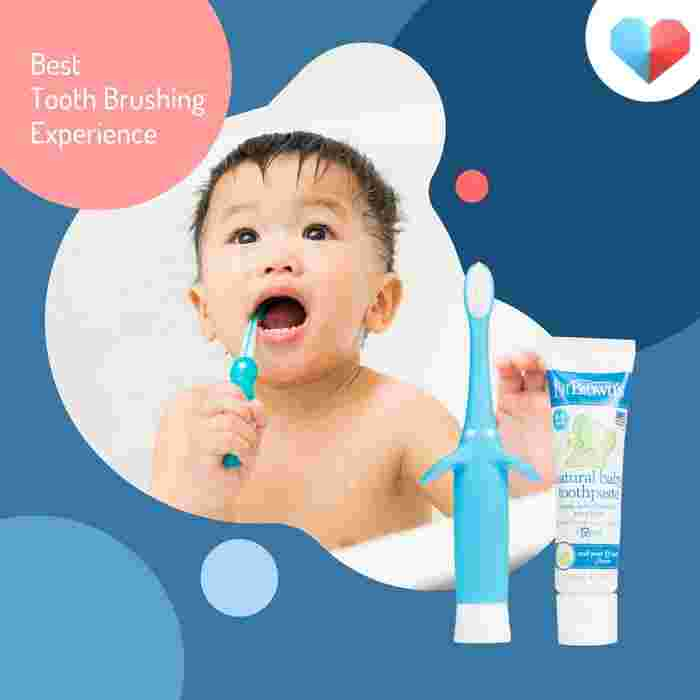 Dr. Brown's Infant-to-Toddler Toothbrush, toothpaste Combo - Best Tooth Brushing Experience