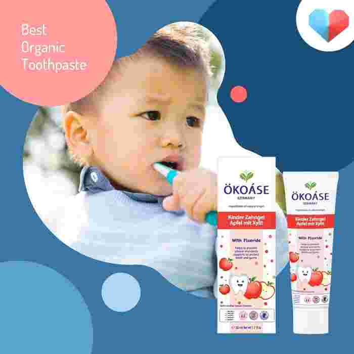 OKOASE 100% Natural Organic With Fluoride Apple Flavour Kids Toothpaste - Best Organic Toothpaste
