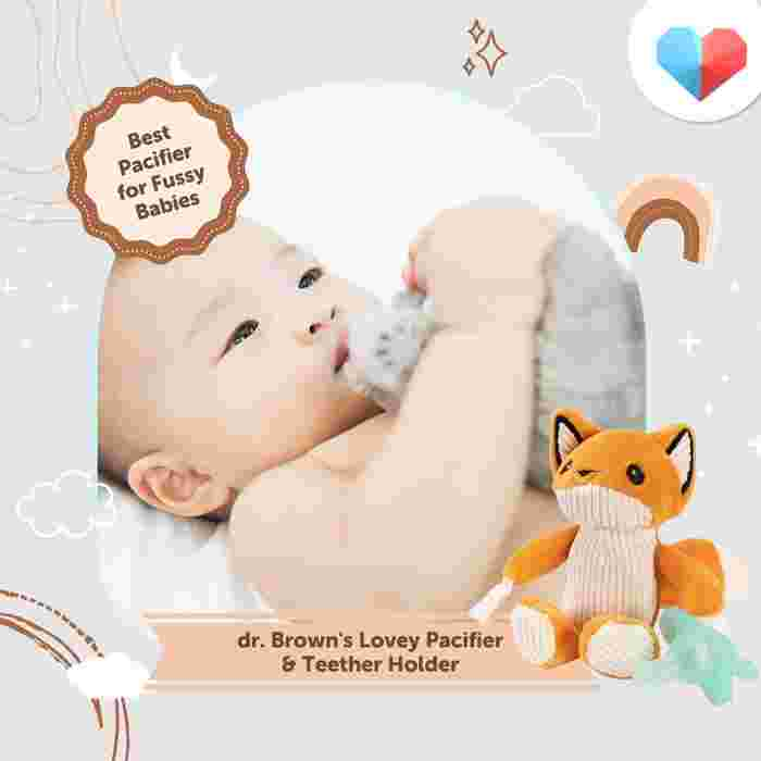 Dr. Brown's Lovey Pacifier and Teether Holder - Best Pacifier for Fussy Babies
