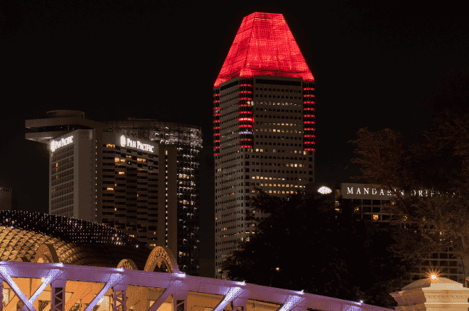 Singapore City Skyline Illuminated In Red In support Of World Heart Day 2021