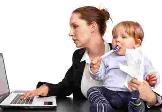 working mom with children