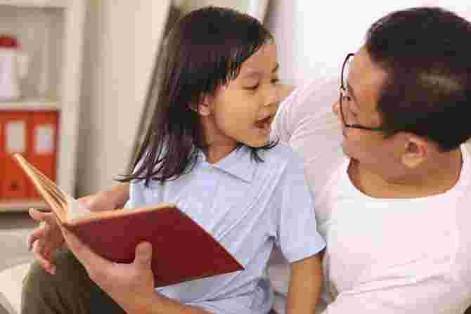 life skills, father and child reading book