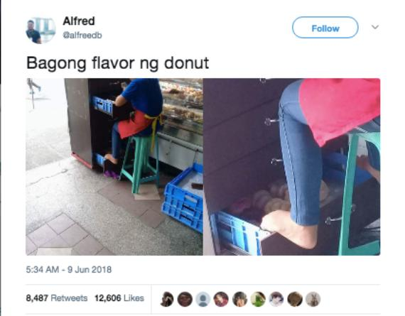 mister donut issue 1 Store employee under fire for resting bare feet on crate full of donuts