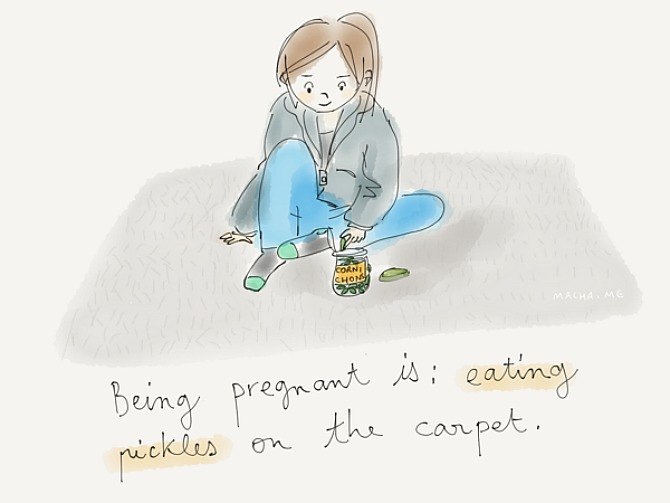 Eating pickles on the carpet