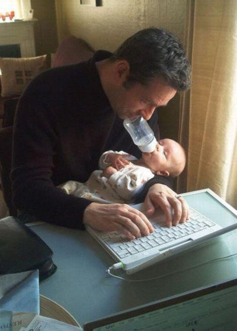 Rock-a-bye baby on the laptop