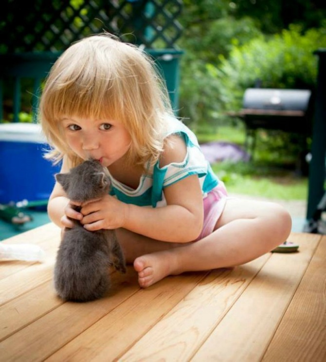 She's smitten with this kitten
