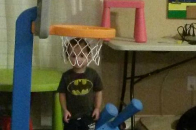 Apparently basketball and hide and seek don't work well together.