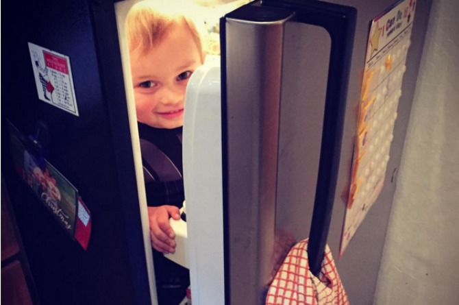 This kid is too cool to play hide and seek.