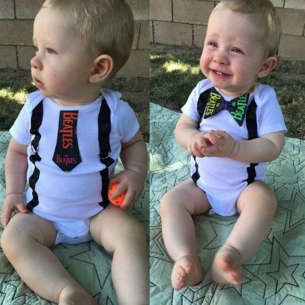 Beatles Onesie with Tie and Bow Tie