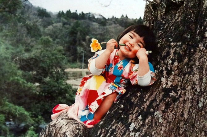 Oh, you know, she likes climbing trees in her kimono