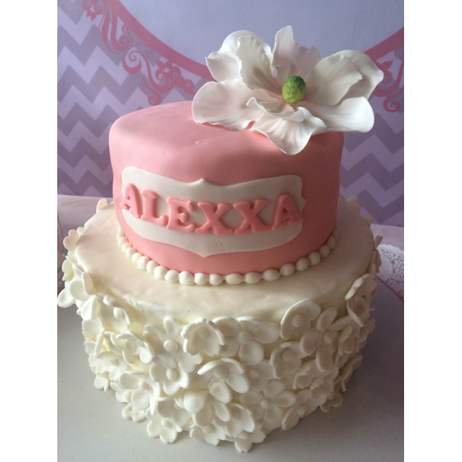 Floral cake for Alexxa's baptism