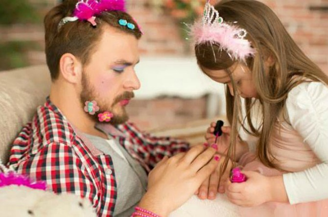 This dad knows it's best to leave all your manicure needs in the capable hands of your daughter