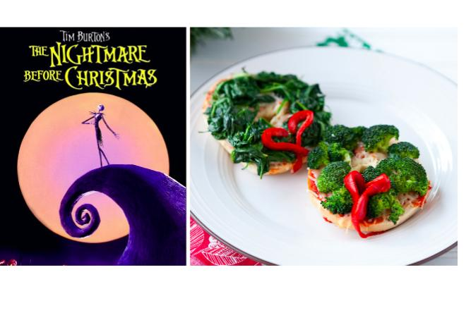 Wreath Pizza Bagels with The Nightmare Before Christmas