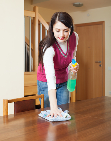 13. Wiping tables and countertops