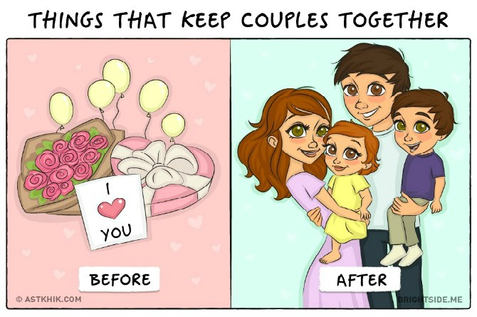 Hysterical illustrations show how life differs before and after marriage