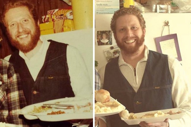 No, he isn't a time traveler. These are actually photos of a father (in 1973) and his grown son (in 2013)