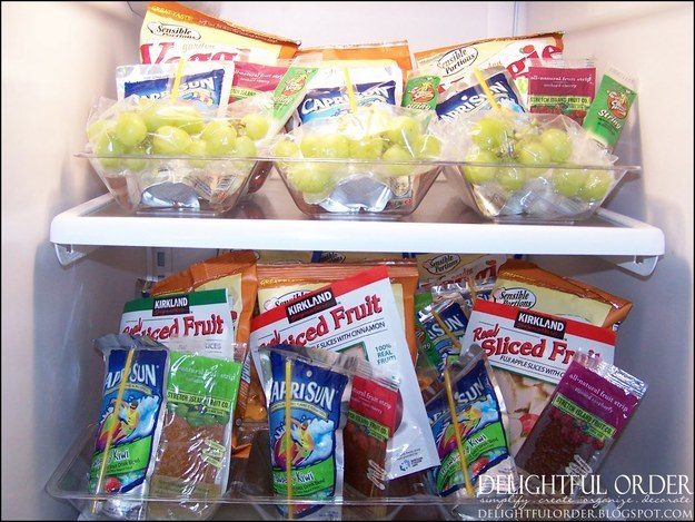 7. Organize snacks for each day ahead of time.