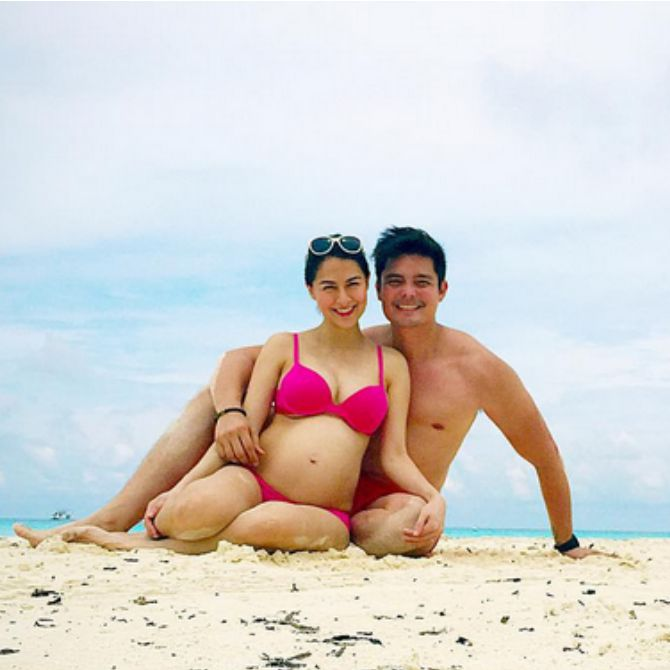 Enjoying the beach with husband of 8 months, Dingdong Dantes.