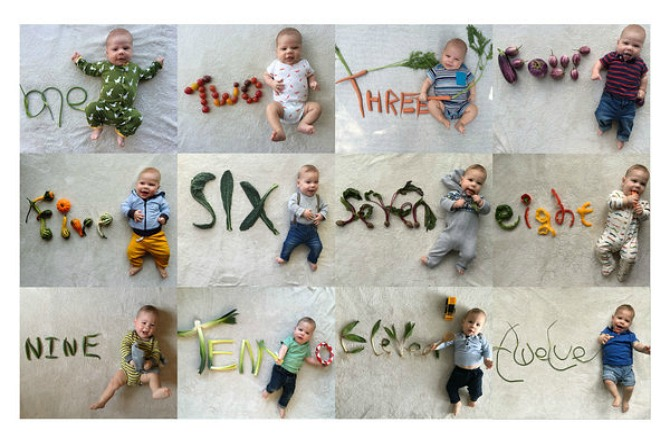 Parents use vegetable themed portraits to capture baby's first year