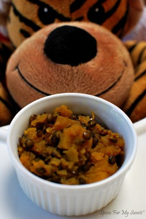 Butternut squash with puy lentil for babies