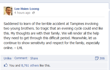 lee hsien loong 2 boys killed in road accident at Tampines