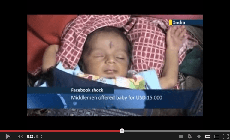 Grandfather sells baby on Facebook