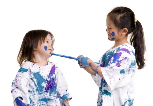 Parenting is tough - kids paint each other
