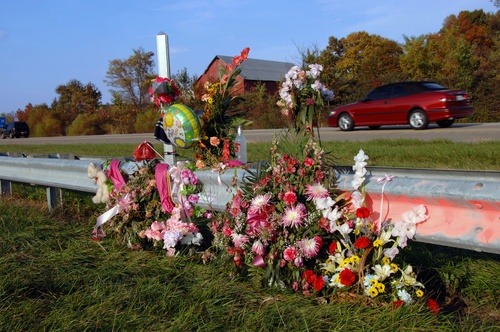 Flowers at accident site