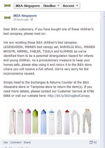 IKEAu0027s childrenu0027s range of bed canopies have been recalled due to potential risk of strangulation in infants and young children.  sc 1 st  theAsianparent & IKEA Childrenu0027s Bed Canopy recall in Singapore - Risk of strangulation