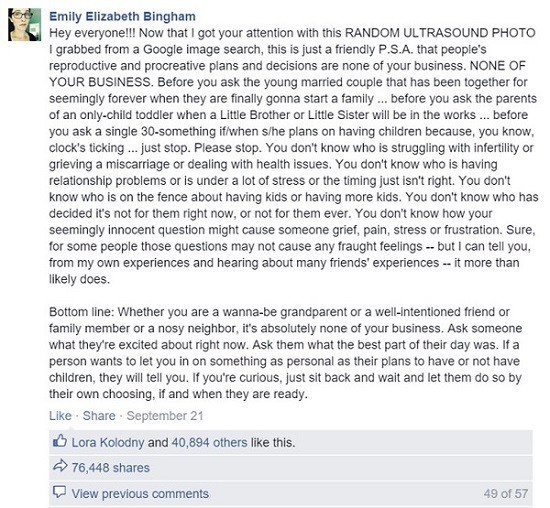 emily bingham Is fertility shaming happening to you, too?