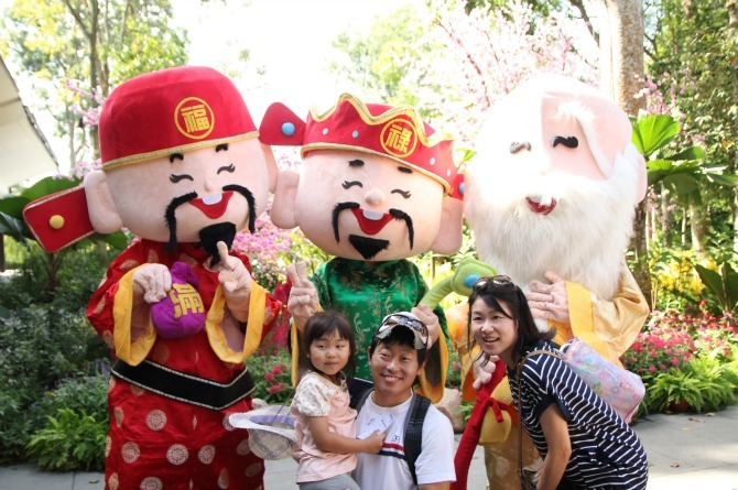 Take a photo or just say hi to the wealth-ushering mascots at the entrance