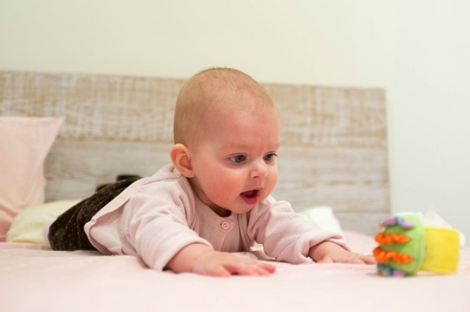 3-month-old, baby, infant, play, toy, development, milestone