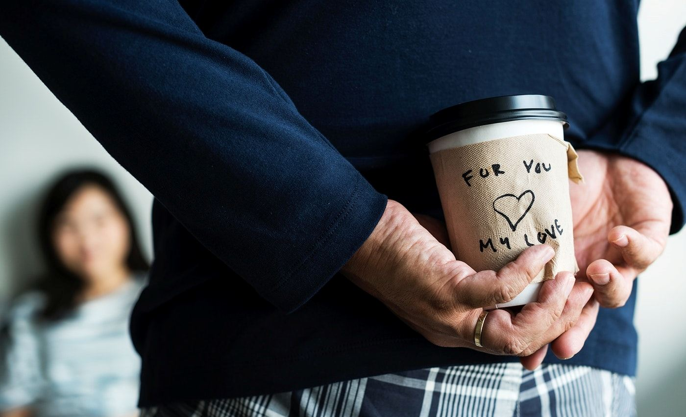 Your husband is romantic when he brings you your favourite coffee!