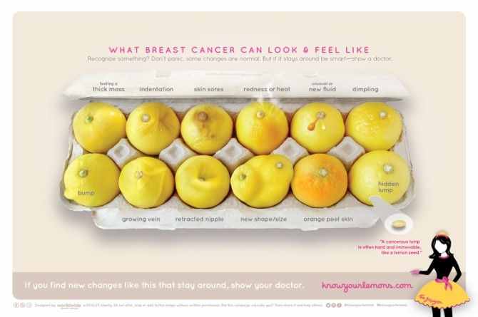 A Breast Cancer campaign uses lemons to educate women about the malady