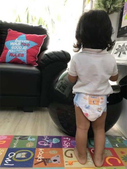 diapering an active toddler