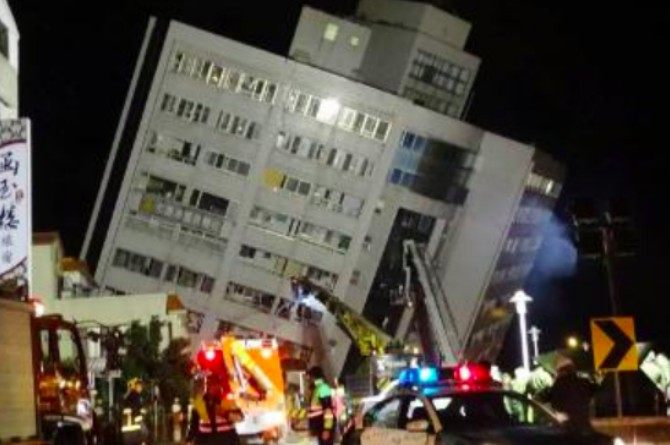 WATCH: Brave father uses self as human shield to protect wife and child during Taiwan earthquake