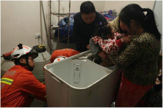 child stuck in washing machine